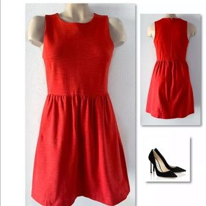 Madewell Dresses - MADEWELL RED RUCHED FIT & FLARE DRESS SZ S